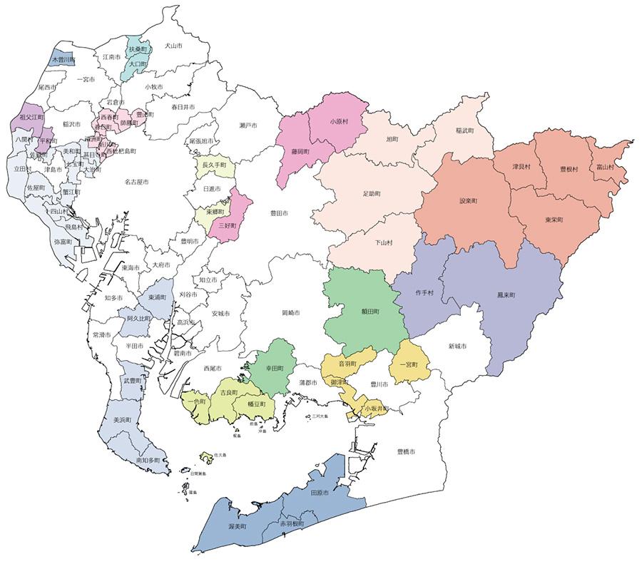 愛知の県内市町村地図